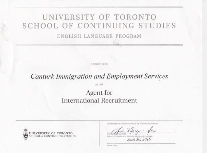 TORONTO UNIVERSITY English Language Department Official for Turkey Canada Canturkimmigration