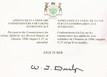 COMMISSIONER of Oath / Ontario Eyaleti Yeminli Beyan Komiserliği Kanada Canturk