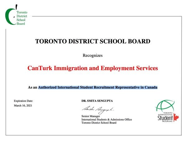TORONTO DISTRICT SCHOOL BOARD Toronto Ministry of National Education Official for Turkey Canada Canturkimmigration