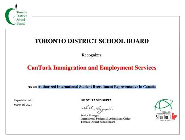 TORONTO DISTRICT SCHOOL BOARD Toronto Milli Eğitim Bakanlığı Türkiye Yetkilisi