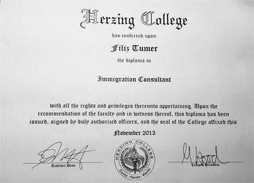HERZING COLLEGE Immigration Consultant Diploması Kanada Canturk